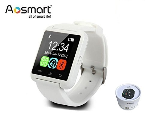 Bluetooth Smart Watch, Aosmart U8 Smartwatch for Android Smartphones - White