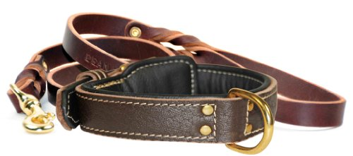 """Dean and Tyler Bundle – One """"Italian Tailor"""" Collar Black Padding, 34″ by 1-1/2″ With One Matching """"Love To Walk"""" Leash, 6 FT Brass Snap Hook – Brown"""