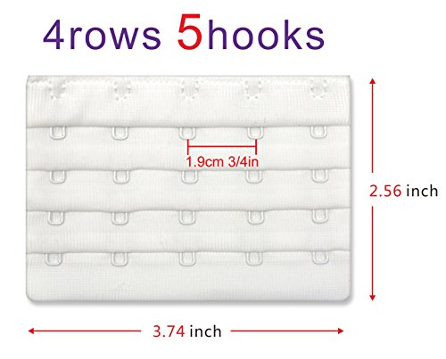 5 Hook Bra Extenders For Women, Quality Comfortable Bras Extension White,4 Pack by N NAANSI (Image #3)