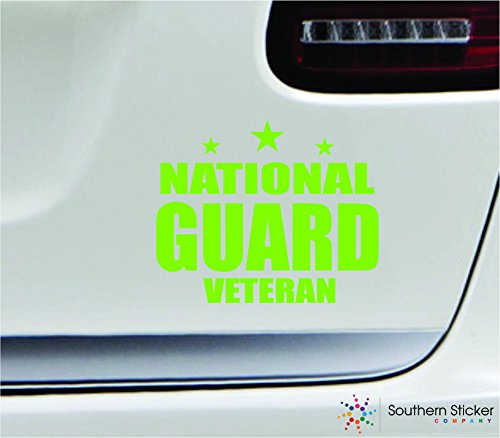 - National guard veteran 5.4x4.4 limegreen soldier military war veteran america united states color sticker state decal vinyl - Made and Shipped in USA