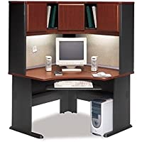Bush Series A 48 Corner Computer Desk with Hutch in Hansen Cherry