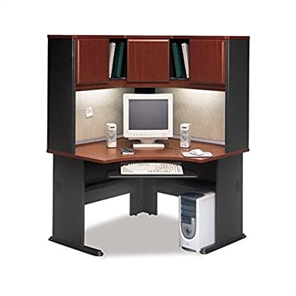 Bush Series A 48u0026quot; Corner Computer Desk With Hutch In Hansen Cherry