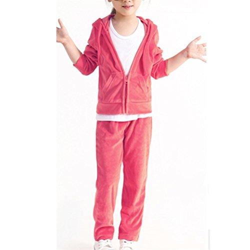 (Monvecle Girls' Velour Zip Hoodie Long Tracksuit Sweatshirt Sweatpant Sets Pink 5-6 Years)