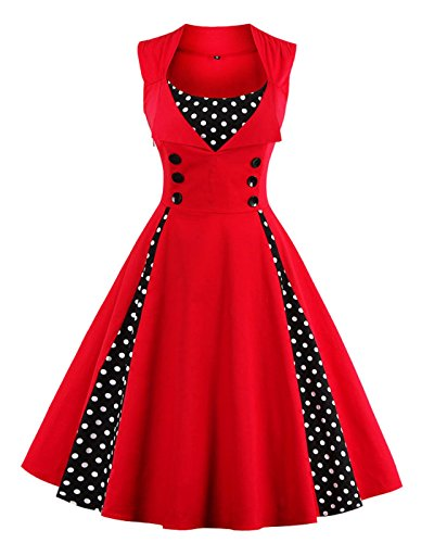 VERNASSA Women's Vintage 1950s Rockabilly Polka Dots Audrey Dress Retro Cocktail Dress
