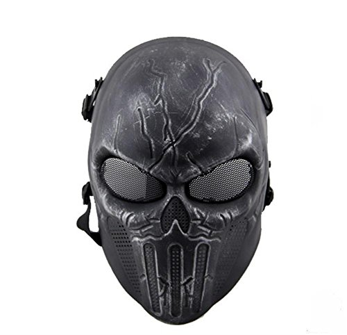 [Punisher Skeleton Mask, Outdoor CS Games Scary Ghost Skull Ventilate Protective Face Mask for Halloween Masquerade Cosplay (Silver &] (Punisher Cosplay Costume)