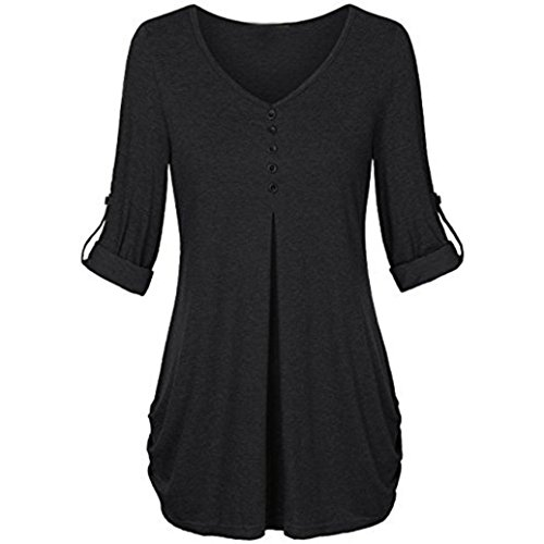 Rambling 2018 New Casual Blouses, Women Split V-Neck 3/4 Roll-up Sleeve Button Down Loose Tops Shirts (Super Dry Zip Polo)