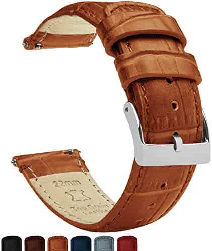 22mm Toffee Brown - Barton Alligator Grain - Quick Release Leather Watch Bands