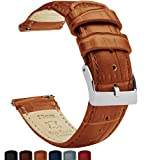 22mm Toffee Brown - Standard Length - Barton Alligator Grain - Quick Release Leather Watch Bands