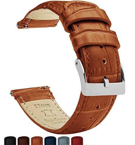 Barton Alligator Grain - Quick Release Leather Watch Bands - Choose Color - 18mm, 20mm & 22mm - Toffee 22mm Strap