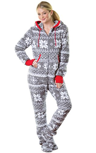 PajamaGram Hoodie-Footie Nordic Fleece Women's Onesie Pajama, Gray, Sml (4-6)