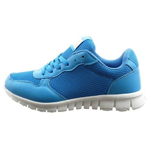 Sopily - Scarpe da Moda Sneaker bi-materiale alla caviglia donna Tacco a blocco 2.5 CM - Blu