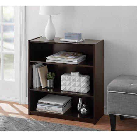 Mainstays Espresso 3-Shelf Wood Bookcase with Elegant Honeycomb Vase (Mainstays 3 Shelf Bookcase)