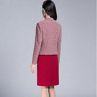 PU&PU Robe Aux femmes Gaine Street Chic,Imprimé V Profond Au dessus du genou Polyester , red , 2xl