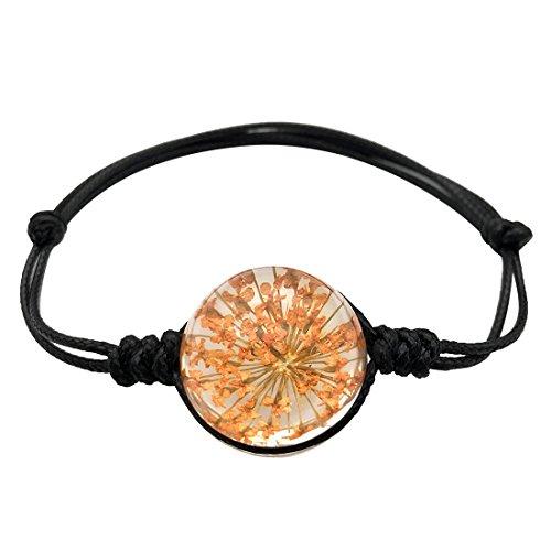 JJTZX Real Flower Bracelet Dried Flower Bracelet Herbarium Bracelet Botanical Bracelet Handmade Leather Bracelet Gift For Girl (Orange flower)