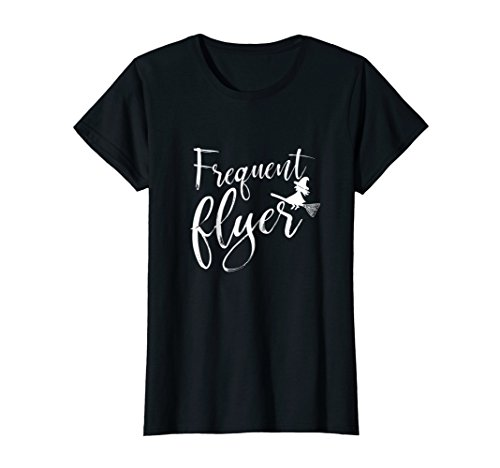 Womens Frequent Flyer Witch Shirt Cute Funny Halloween