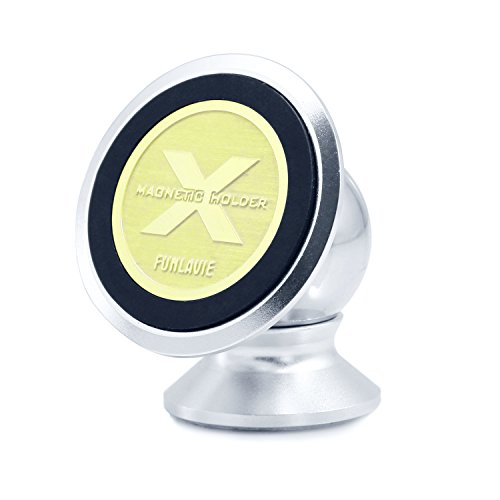 FunLavie Magnetic Phone Car Mount Universal Car Phone Mount for iPhone/Samsung Galaxy Silver Cell Phone Holder for Car