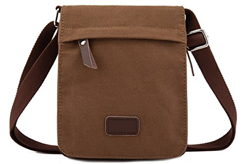 Hombres Y Mujeres Lona De La Vendimia Messenger Ipad Hombro Totalizador Escuela Viajar Bolsa,Brown-17cm*5cm*22cm