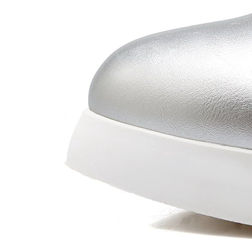VogueZone009 Damen Rund Zehe Mitte-Spitze Hoher Absatz Rein PU Leder Stiefel Silber