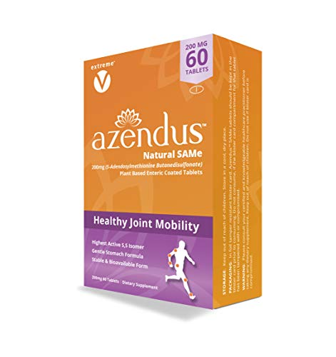 Azendus SAM-e Joint Support 200mg, 60 Count, Same Butanedisulfonate Fiber Enteric Coated Tablets, Physician Trusted, 1 Recommended Active Form