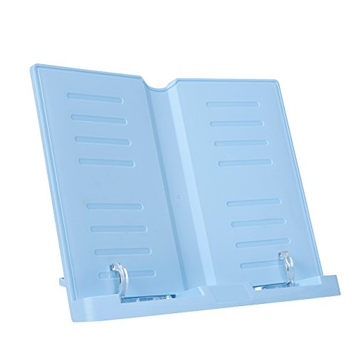 Plastic Book Holder (Book Stand – Adjustable Book Holder Document, Cookbook, Texbook, Recipe Books Stand – Blue, 11 x 9 x 2 Inches)