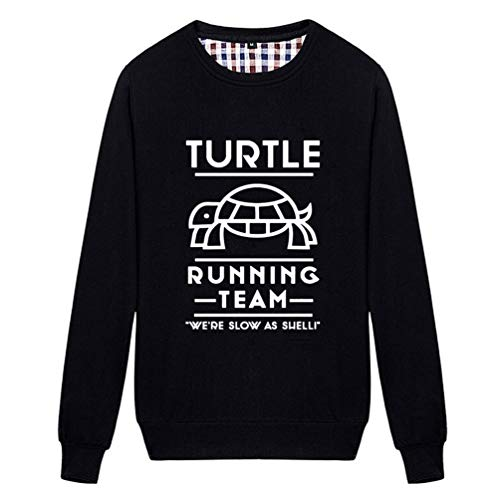 (Unisex Turtle Running Team We're Slow As Shell Funny Graphic Sweatshirt (Black X-Small))