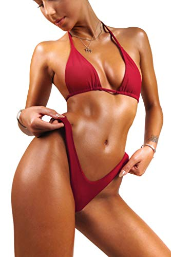 (sofsy Red Bikini Swimsuit for Women Bathing Suit Two Piece Set Swimwear Tie Triangle Top & High Cut Bottom Sexy Size 8-10 Large)