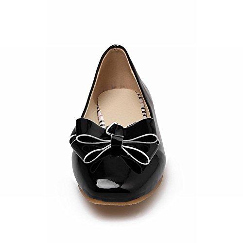 Latasa Mujeres Bow Square-toe Flats Zapatos Black