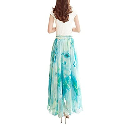 Afibi Boho Floral Long Summer Beach Chiffon Wrap Cover Up Maxi Skirt for Women at Women's Clothing store