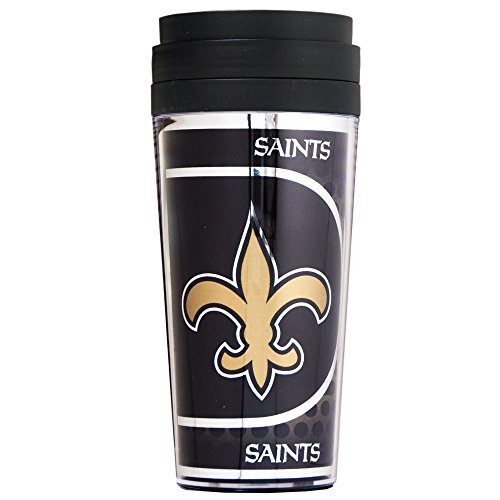 NFL New Orleans Saints Acrylic Travel Tumbler with Metallic Graphics, 16 oz., Black