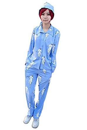 C.J. SHOP Attack on Titan Shingeki no Kyojin Rivaille pajamas cosplay TOP/PANT/HAT whole set costume lightblue