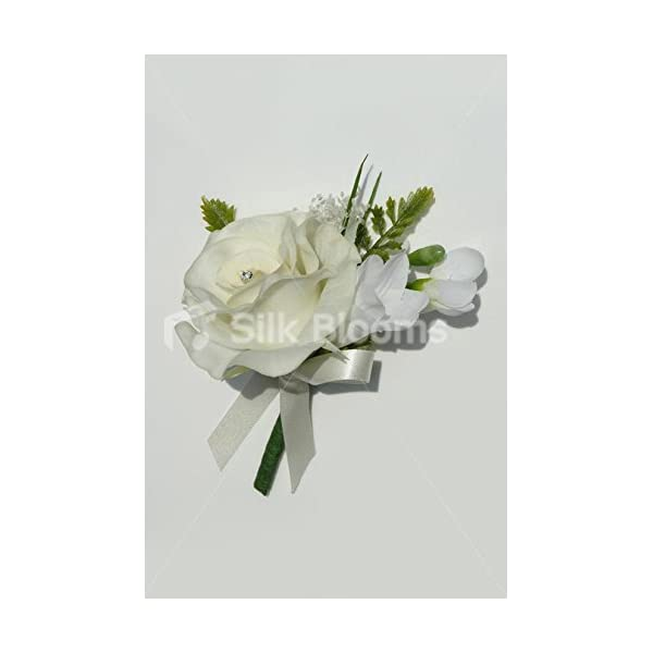 Real Touch Ivory Rose & White Freesia Wedding Buttonhole