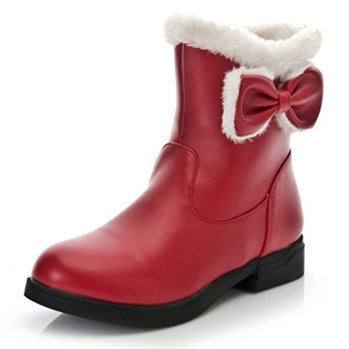LongFengMa Women's Flat Heel Sweet Bowtie Snow Boots Red