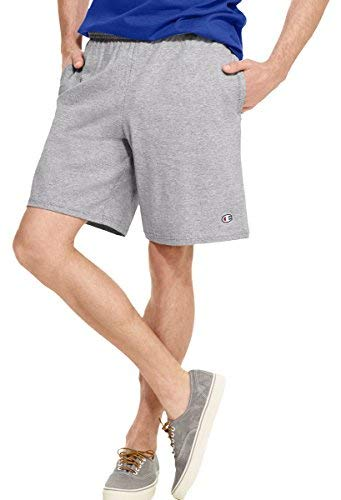 Mens Short Champion Jersey (Champion Authentic Cotton 9-Inch Men's Shorts with Pockets_Oxford Gray_XL)