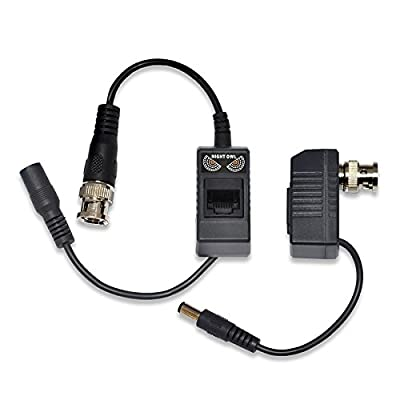 Night Owl Security 1-Pair Passive Video Balun Converters with power for Security CCTV systems - A-VB-POE-BNC