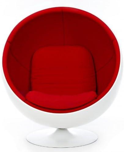 Adelta Ball Chair Lounge Sessel, rot Tonus 130 Gehäuse weiß