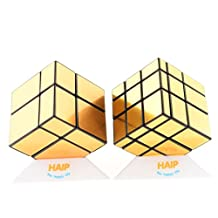 Magic Cube, Haip 2x2 Silver Mirror, 3x3 Gold Mirror Speed Cube Magic Cube 5 PCS Set (Base Holders/Bag Included)
