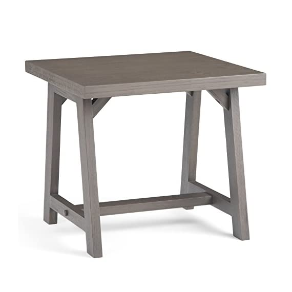 Simpli Home 3AXCSAW-02-FG Sawhorse Solid Wood 22 inch Wide Square Modern Industrial End Side Table in Farmhouse Grey - Handcrafted with care using the finest quality solid wood Hand-finished with a Farmhouse Grey stain and a protective NC lacquer to accentuate and highlight the grain and the uniqueness of each piece of furniture Features a simple and extra thick table top surface - living-room-furniture, living-room, end-tables - 41ySZjAOF0L. SS570  -