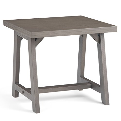 (Simpli Home 3AXCSAW-02-FG Sawhorse Solid Wood 22 inch wide Square Modern Industrial Modern Industrial End Side Table in Farmhouse Grey)