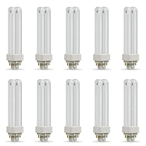 10x Crompton 10w Compact Fluorescent 2 Pin Double Turn D Type Cool white 4000K
