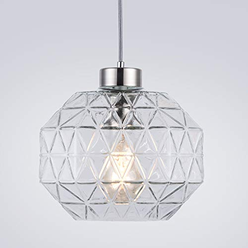 Contemporary Pendant Light Handblown Clear Glass Shade Drop Ceiling Lights, Brushed Nickel Hanging Light Fixture for Kitchen Island Dining Room,1 Light - Nickel Hanging
