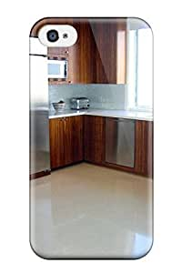 For Iphone 4/4s Tpu Phone Case Cover(contemporary Kitchen With Zebra-wood Cabinets) hjbrhga1544