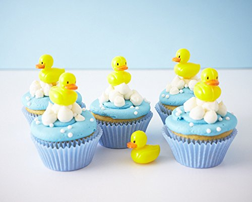 24 Baby Shower Cupcake Picks Toppers Kit - Rubber Ducky Picks , Light Blue Baking Cups, White Candy Pearls (Rubber Candy)
