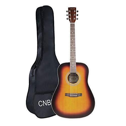 Acoustic Guitar Starter Kits - 41in Full Size Dreadnought Acoustic Guitar Starter Kit w/Case For Beginner Music Lover - Sunburst