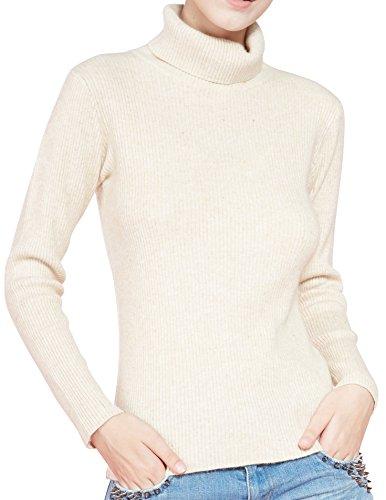 Sweater Cashmere Beige (LONGMING Women's Turtleneck Sweater (Small,Beige))