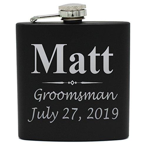 Set of 1, 2, 3, 4, 5, 6, 7, 8 Personalized Black Flask - Custom Engraved Groomsmen, Best Man, Groom Gift Flasks - 3 Lines Style (1) -