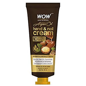 WOW Skin Science Moroccan Argan Oil Hand & Nail Cream – Nourishing & Repairing – Lightweight & Non-Greasy – Quick Absorb…