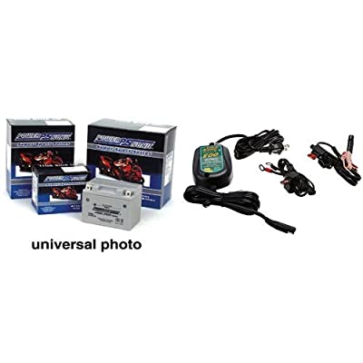 Power-Sonic (PTX14AHL-BS) Sealed Maintenance Free Powersport Battery and Battery Tender 022-0150-DL-WH 800 Battery Charger Bundle
