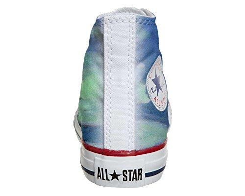 Converse All Star Hi Personnalisé et Imprimés chaussures coutume, Sneaker Unisex (produit Italien artisanal) fleurs blanc