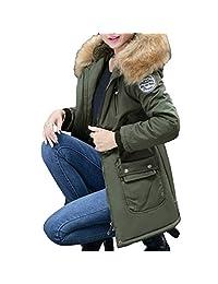 PENATE Women's Slim Down Jacket Girls Winter Warm Plush Hooded Cotton Coat Parka