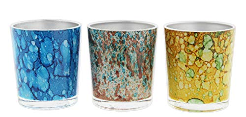 The Bridge Collection Set of 3 Glass Votive Candle Holders in Multicolor Marbled Designs